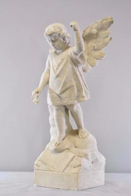 "Antique Outdoor 30"" Tall Garden Winged Angel / Child Marble Sculpture"
