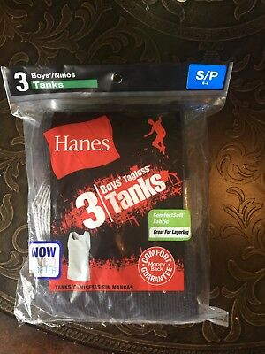 Hanes 3 pack Boys Ribbed Tagless Tank Size small 6-8 Black and Grey