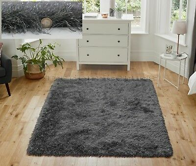 Dazzle Sparkle Sparkly Dark Grey Charcoal Soft Thick Pile Shaggy Glitter Rug