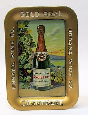 GOLD SEAL CHAMPAGNE URBANA WINE CO tin litho tip tray RECTANGULAR