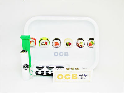 OCB Mini Metal Rolling Tray with Lid Bundle Rolling Roller Tube Clipper Lighter