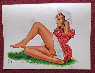 Alain Gourdon 'ASLAN' Sexy Girl Magazine Pin-Up Art ~ Stendhal Quote