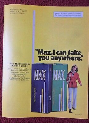 1976 Print Ad MAX Filter 120 Cigarettes ~ Pretty Girl, I Can Take You Anywhere