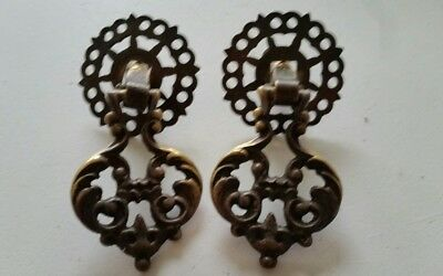 Pair antique fancy decorative vintage solid brass drop drawer pulls NICE! (414)