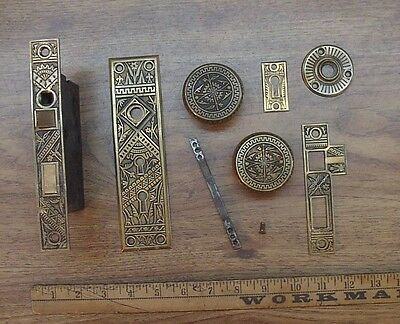 Antique 1800's Branford Lock Works Brass/Bronze{??} Mortise Lock Set,Incomplete