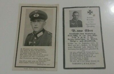 2× Death Cards - Infantry & Grenadier, both Russia (12/1941 & 11/1943)