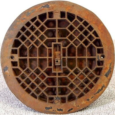 "Antique 9 1/2"" Round Cast Iron Floor Grate w/ working louvers - for 8"" hole"