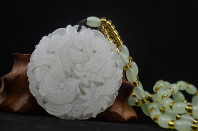 Hand carved natural white Jade Statue Pendant-Free Necklaces Dragon Phoenix