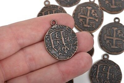 10 Copper Coin Relic Charm Pendants Cross with wax seal round coin chc0080
