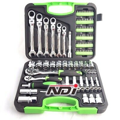 "NDI 104PCS Socket Wrench Ratchet Spanner Set 1/2"" 1/4"" Drive Metric 0608"