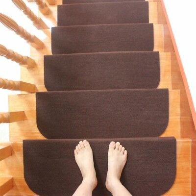 13PCS Non-slip Carpet Stair Treads Mats Staircase Step Rug Protection Cover