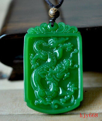 Fine Chinese Rich Green Natural Hand-Carved HeTian Jade Dragon pendant