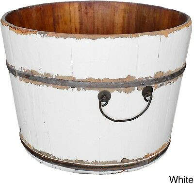 Vintage Wooden Iron Rice Water Bucket White Decorative Piece Home Room Decor New