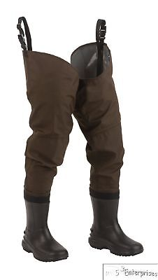 Hodgman fishing hunting PVC Nylon waterproof hip waders cleated sole 8 NEW 1472