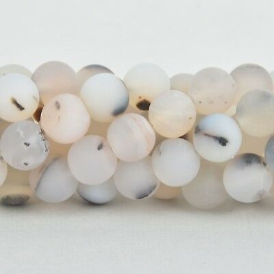10mm WHITE CHOCOLATE AGATE Round Beads, frosted matte, non-faceted, gag0339