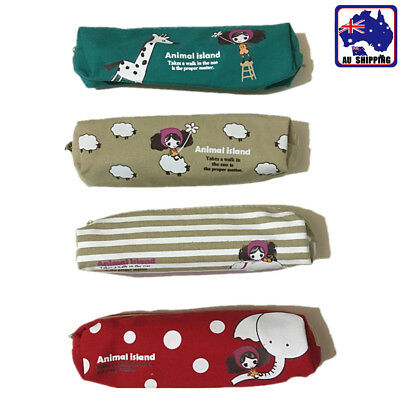 2pcs Animal Canvas Pen Pencil Case School Stationary Zipper Bag 4 Styles SPBA795