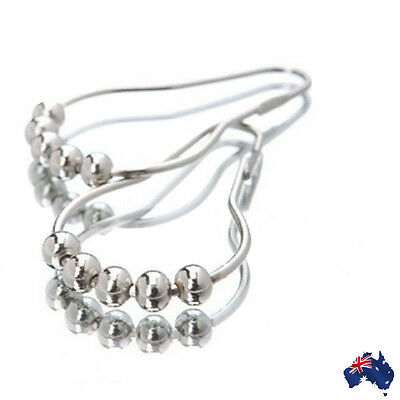 12x Shower Curtain Hooks Ring Chrome Polished Nickel 5 Rollerball HTCUR 0001 x12