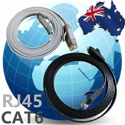 Flat Network Cable RJ45 LAN Ethernet Cat6 White Black 1m to 10m ESIXB ESIXW