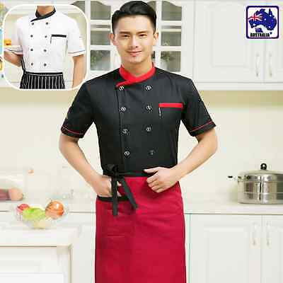 Chef Short Sleeve Jacket Coat Uniform Kitchen Men Cooker Work Restaurant CTSK385
