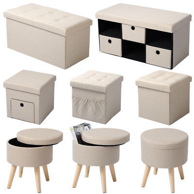 sitzhocker sitzw rfel ottomane fu bank hocker faltbar spielzeugkiste truhe 38cm eur 13 99. Black Bedroom Furniture Sets. Home Design Ideas