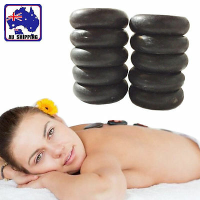 10x Round Hot Stone Massage Basalt Stones Rocks Oiled Massager SPA HCFI52566x10