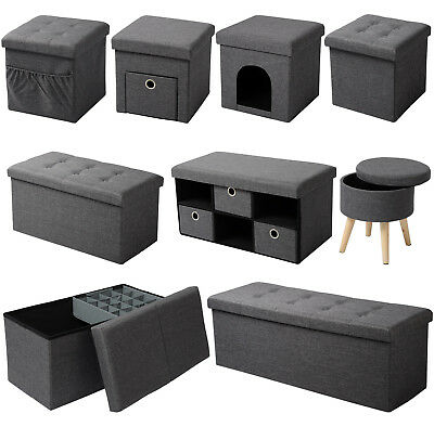 sitzhocker mit stauraum aufbewahrungsbox sitzw rfel hocker polsterhocker leinen eur 39 90. Black Bedroom Furniture Sets. Home Design Ideas