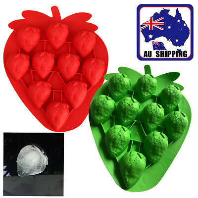 Strawberry Shape Ice Cube Freeze Mold Ice Maker Mould RedGreen Tray HKIM270
