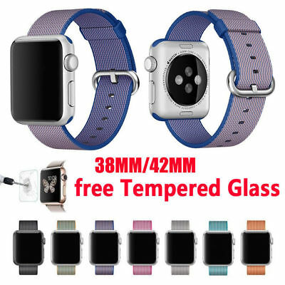 Für Apple Watch iWatch 38/42mm Armband Nylon Armband Strap Free Screen Protector