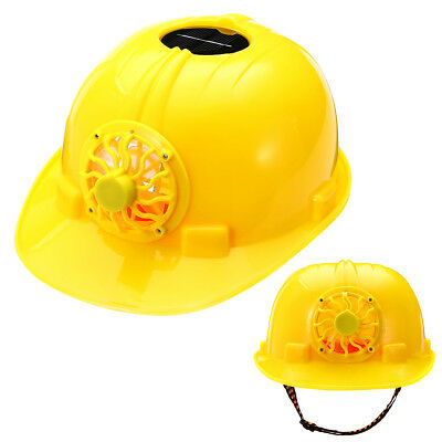 Solar Powered Safety Helmet Hard Ventilate Hat Cap with Cooling Cool Fan Yellow