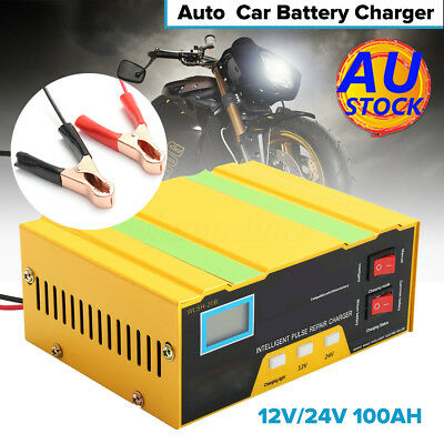 AU 12V/24V Auto Car Charger 100AH Pulse Repair Type Fr Lead Acid/Lithium Battery