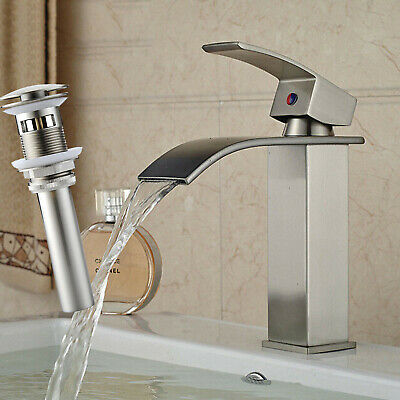 Waterfall Spout Bathroom Faucet Oil Rubbed Bronze Basin Faucets Mixing Tap Cover