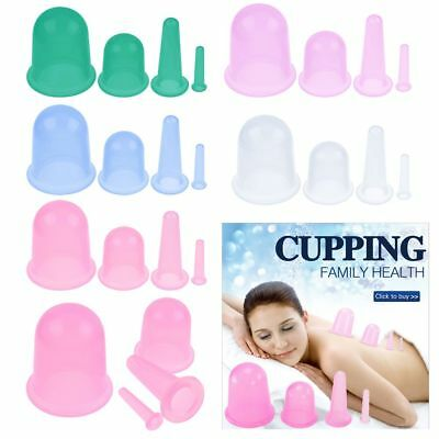 4 IN1 SET Anti-Cellulite Silicone Body Facial Massage Cup Medical Vacuum Cupping