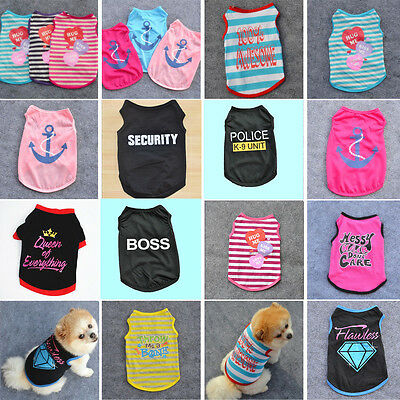 Small Puppy Pet Dog Clothes T-Shirt Vest Cartoon Printed Summer Apparel Costume