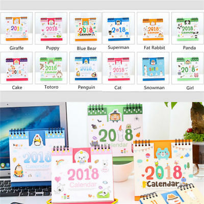 2017-2018 Cartoon Animal Desk Desktop Calendar Flip Stand Table Office Planner