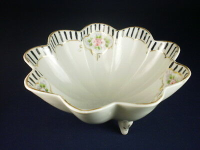 Vintage Japanese Pink Rose Black & White Footed Bowl