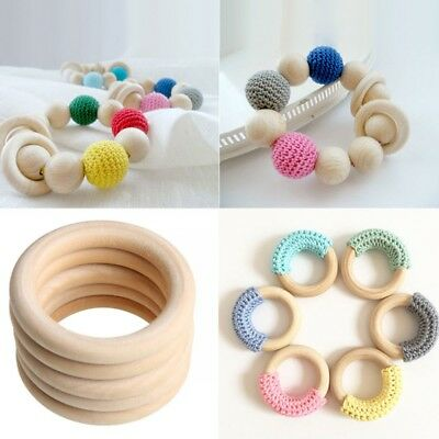 10pcs Natural Wooden Baby Kid Teether Teething Bracelet Ring Rattle Toys 25-60mm