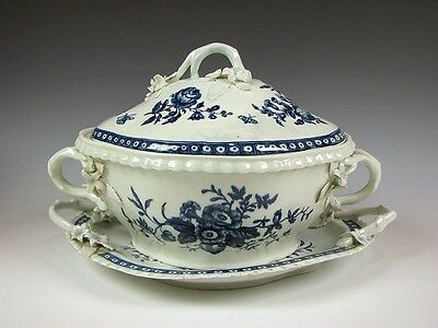18th C Antique English Porcelain Worcester Crescent mark Soup Tureen + Undertray