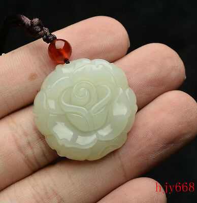 Exquisite Beautiful Chinese natural white jade hand-carved Rose flower pendant