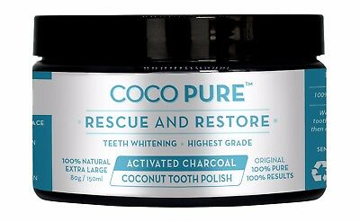 PURE Activated Coconut Shell Charcoal Powder Family sized Teeth Whitening 150ml