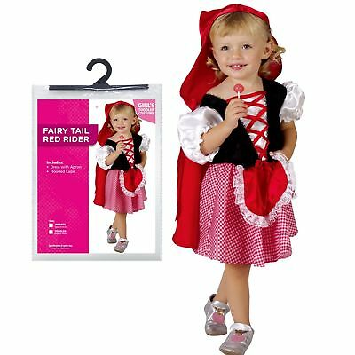 Ages 1-4 Girls Fairy Tale Red Fancy Dress Costume Party Halloween Toddler Infant