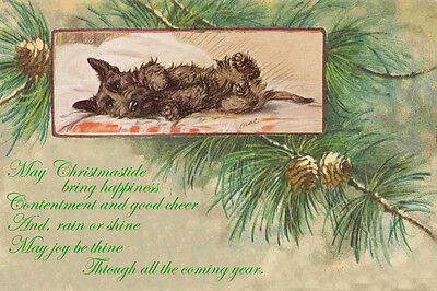 Scottish Terrier Dog Cute 1930 Lucy Dawson  New LARGE Blank Christmas Note Cards