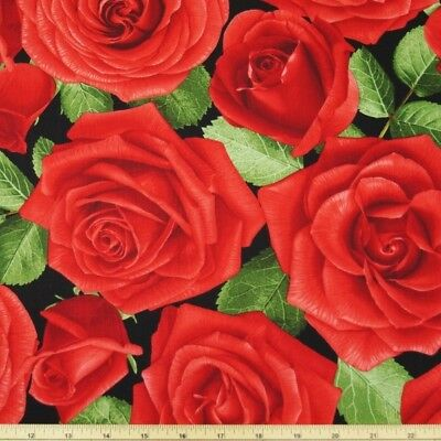 100% Cotton Fabric Timeless Treasures Glamour Large Red Roses Flower