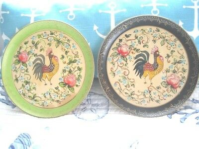 2 Vintage Green Black Paper Mache Tole Tray French Country Roosters & Floral