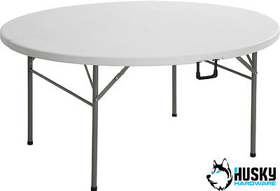 HUSKY 5ft Round Folding Plastic Table Banquet DIY Trade Show Market Event BBQ