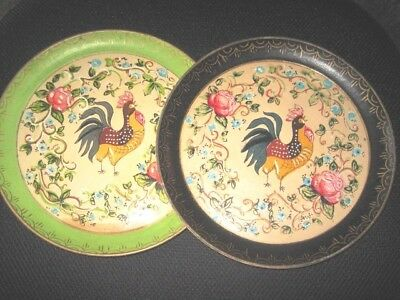 Pair Vintage Green Black Paper Mache Tole Tray French Country Roosters Floral
