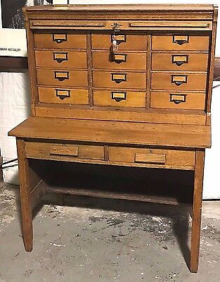 Globe Antique Oak Desk With Roll Top and File Drawers VERY Unique