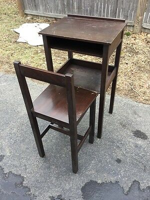Antique Paine's Furniture Boston Mission Mahogany Telephone Table Desk & Chair