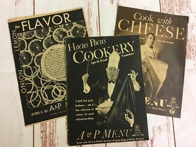Lot of 3 Vintage A & P Menu Booklets: Onion & Lemon, Cheese, & Mock Recipes 1936