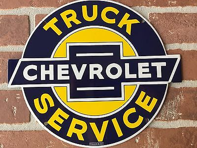 CHEVROLET TRUCKS SERVICE PORCELAIN DEALERSHIP SIGN. WALKER & Co. FAST SHIPPING😎