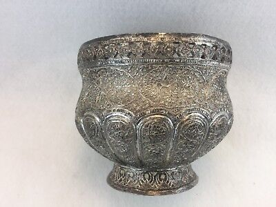Antique Silver Plated Indian Kashmire Bowl